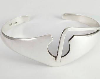 Vintage Modernist Sterling Silver 925 Bracelet Signed
