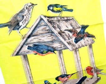 Vintage Irish Linen Tea Towel, Birds at Birdfeeder, Bird Irish Linen Tea Towel, Vivid Colors, Immaculate, Never Used