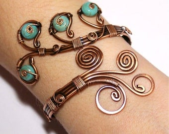 statement bracelet adjustable handmade teal blue wire wrapped jewelry turquoise cuff bracelet wire wrapped jewelry handmade copper jewelry