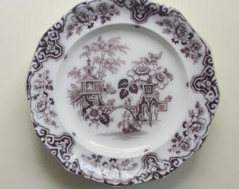 Mulberry Flow Black Transferware Ironstone Plate Bochara Late 19th Century
