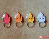 Fire elf recycled fire hose keychain keyring flame elf key ring pocket...