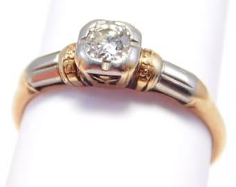 Art Deco 14K & 18K Granat Solitaire .15 Diamond Ring