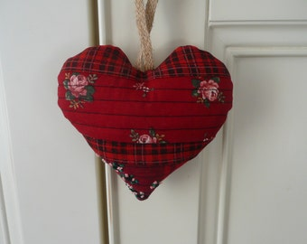 Red Patchwork Heart, Hanging Fabric Heart, Quilted Heart,  Embroidered Decoration, Floral Heart, Gift for Mother, Housewarming, Wedding Gift