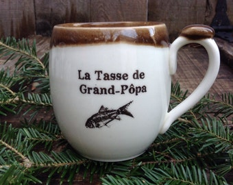 "La tasse de Grand-Pôpa is a mug for your grand-father with a french expression ""tasse de grand-pôpa"" made of porcelain clay."