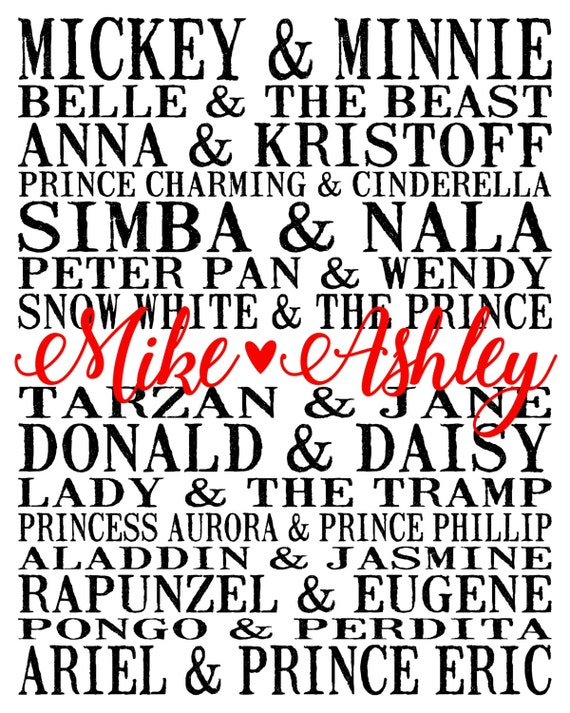 Personalized Disney Couples Print