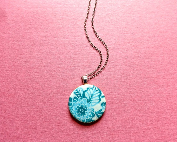 Flower necklace, floral necklace, blue necklace, paper necklace, Japanese paper, resin necklace, wood necklace, decoupage necklace, yuzen