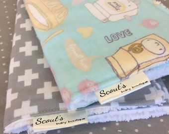 Baby Burp Cloths - Burp Rags - Baby Shower Gift -  Set of Two - Baking with Friends