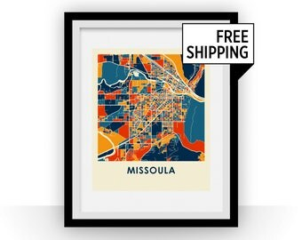 Missoula Map Print - Full Color Map Poster