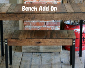 Rustic Reclaimed Wood Bench/Add on Bench