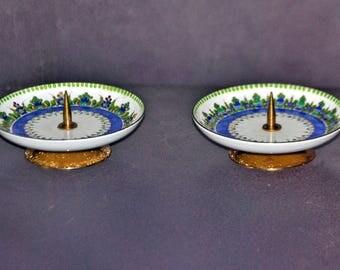 2 Vintage STUDIO STEINBOCK Enamel Candle Holders Handmade in Austria