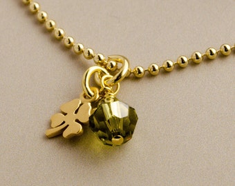 Chain lucky clover-leaf 925 sterling silver, gold plated
