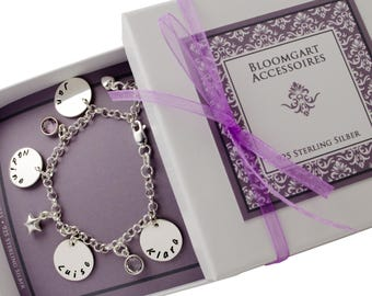 FAMILY jewelry with engraved silver bracelet birthstone