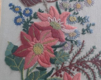Embroidered Vintage Flower Picture
