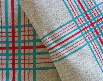 check linen metis fabric - bolt of unused French red and green check cloth 8 meter length