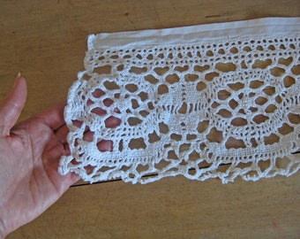 French lace - over 2 meters of 7 inch deep hand made crochet lace trim on linen band