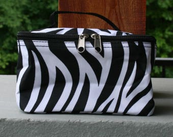 Monogrammed Small Cosmetic Bag Black Zebra Makeup Bag