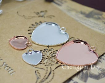 1 inch/25mm Vintage Heart Shape Blank Bezel settings for glass/Cameo/Cabochons Setting - blank Pendant Tray - Photo Tray - Glass Tile base