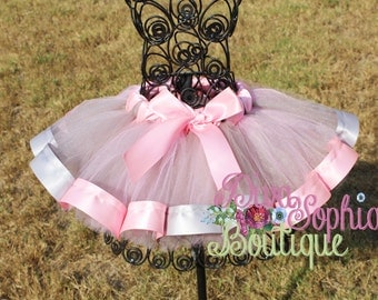 Pink and Gray Ribbon Tutu
