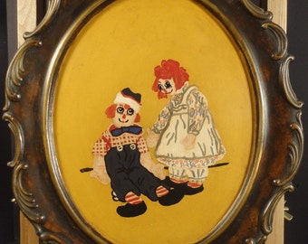 Vintage Painting Raggedy Ann & Andy Portrait Oil on Ceramic Original Childrens Art 1970s Primitive Naive Artwork