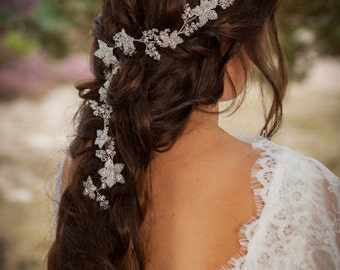 "Swarovski crystal flower hair vine 18"", bridal, wedding, boho"