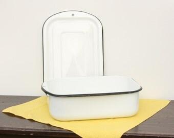 Vintage Enamelware Refrigerator Dish ~  Farmhouse Refrigerator Dish ~ Medical Enamel ~ White and Black Enamelware