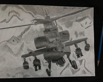 Drawing of an Apache Helicopter by Jordan Kimpton