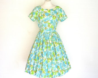 50s Dress Vintage Blue Floral Print Cotton Swing Beach Garden Party XS Free Domestic and Discounted International Shipping