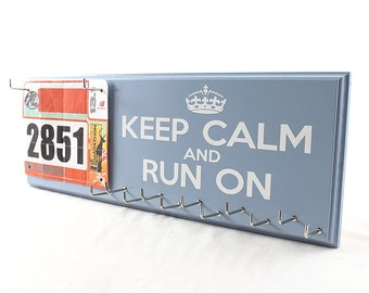 Running Medal Holder and Race Bib Hanger  Keep Calm and Run On