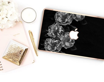 Platinum Edition Black Rose with w/Rose Gold Edge Hybrid Hard Case for Apple Mac Air & Mac Retina , New Macbook 2016