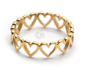 Hug Of Hearts Ring Gold Plated, Band Ring, Wedding Band Ring - Ring Size- 7us (GP7-12015)