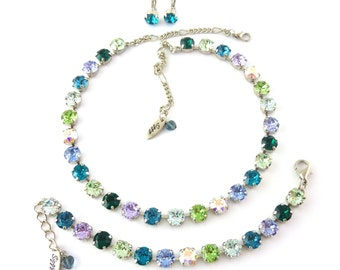 WINTER FROST 8mm Swarovski Crystal Necklace, Cool Tones, Blue, Purple, Green,  AB, Designer Inspired, Siggy Jewelry, Free Shipping