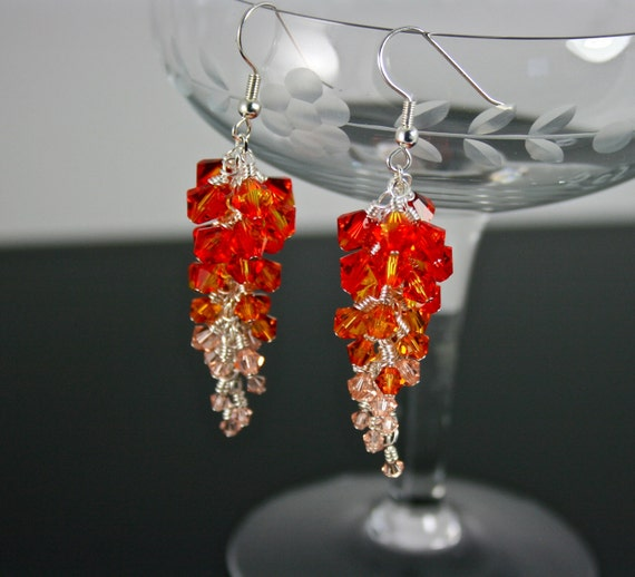 Swarovski Chandelier Earrings Fire Opal