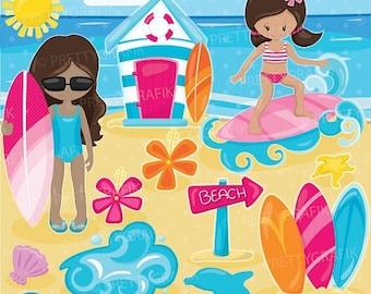 80% OFF SALE Surfer girls clipart, clipart commercial use, vector graphics, digital clip art, digital images - CL918