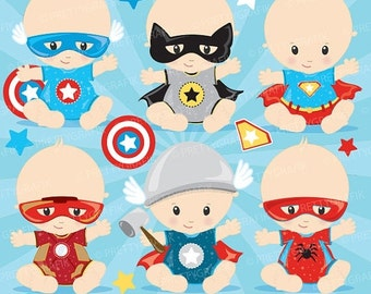 80% OFF SALE Superhero baby clipart commercial use, baby hero vector graphics, digital clip art, digital images - CL876