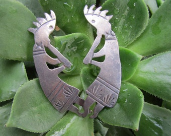 Sterling Silver Native American Earrings Figure playing flute signed CA Sterling