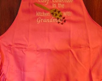Free personalizing Beautifully machine embroidered child's ruffled apron