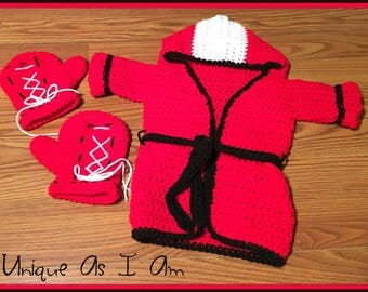 Crochet Baby Boxing Robe and Gloves ONLY