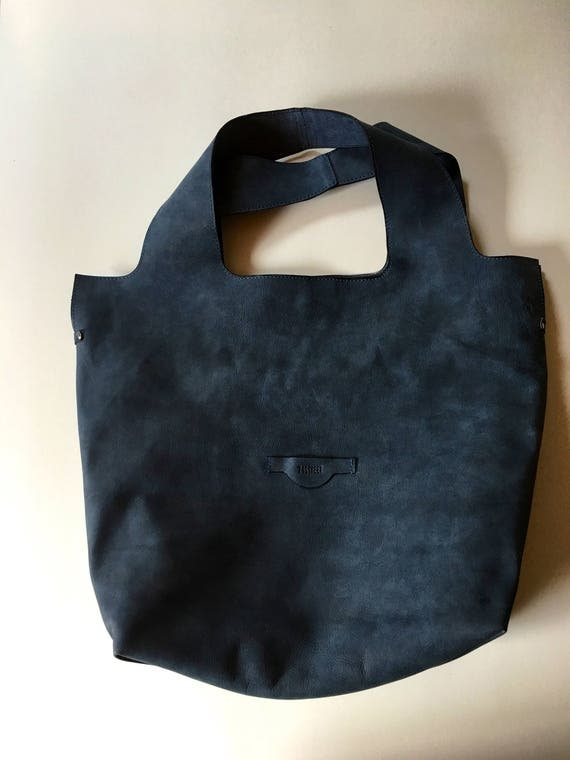 74street street bag, Denim Blue Leather Tote Bag, Ink Blue Tote Leather Bag, Tote Leather Bag, Shoulder Bag, Handmade Bag, Woman