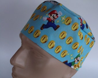 Super Mario 2 Men's scrub hat with sweatband option - scrub cap, Bakers hat, 123-5550