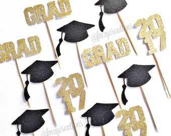 Graduation Cupcake Toppers | Cupcake Toppers | Graduation Party | Class of 2018 | Graduation Cap Cupcake Toppers | Grad Cap | Grad 2018 |