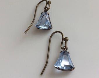 Ice Blue Glass Earrings  Vintage Look  Small Dangle Earrings  Bohemian Earrings  Gypsy Dangles