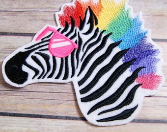 Neon 80's Rainbow Zebra Iron On Embroidery Patch MTCoffinz - Choose Size
