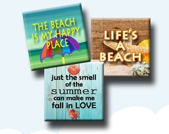 I LOVE THE BEACH - Digital Collage Sheet 1.5 inch square images for pendants, earrings, decoupage, journalling etc. Instant Download #244.