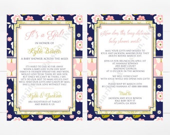 Long Distance Baby Shower Invitation - Shower By Mail Invite - Virtual Baby Shower Invitation - Butterfly Invitation - Girl Baby Shower