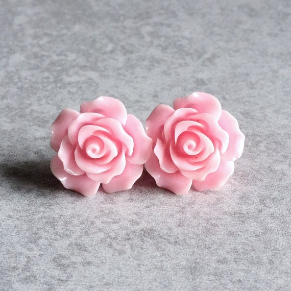 Pink Rose Earrings - 20mm Resin Cabochons, Silver Plated Stud Backs, Light Pink, Shabby Chic, Pastel, Spring, Bridesmaid Jewelry