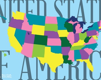 Pattern for United States Montessori Map - Interactive USA activity for Felt or Paper, 3x5 ft. Printable - Buy a Craft, Feed a Baby