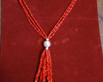 Handmade Dyed Red Coral Bead and Chip Necklace