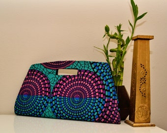 Pink, Royal Blue & Teal Ankara Clutch Purse