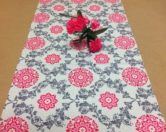 Handmade Tablerunner Fushia, Pink and Gray Floral Print, 13W x 36L, Ready to Ship