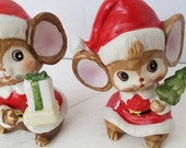 2 vintage Christmas Mice Figurines